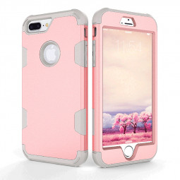 iPhone 7/8 Plus PC + TPU Case Protective Shockproof Bumper Back Cover Shell - Rose Golden + Grey