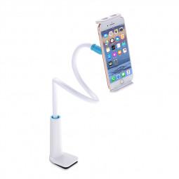 80CM Mobile Mount Stand Lazy Bed Desk Gooseneck Holder for Phones Tablets - White+Blue