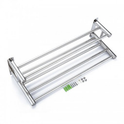 60CM Double Stainless Steel Towel Holder Bathroom Rail Bar Rack Wall Mounted