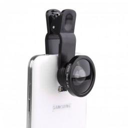 U004 Universal Clip Super Wide Angle 0.4X Lens Kit for iPhone Samsung - Black