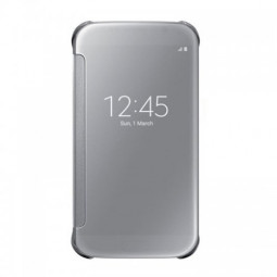 Mirror Flip Smart Case Cover for Samsung Galaxy S6 G9200 - Silver