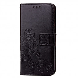 Four Leaf Clover Pattern PU Leather Wallet Flip Case Cover for Samsung Galaxy S9 - Black