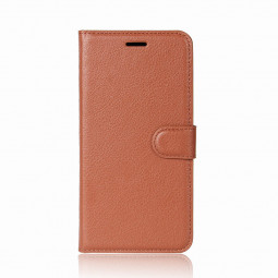Litchi PU Leather Horizontal Flip Case Card Slots Wallet Cover for Samsung Galaxy S9 Plus - Brown