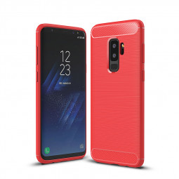 Flexible Shockproof Carbon Fibre Soft TPU Rubber Case Cover for Samsung Galaxy S9 Plus - Red