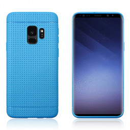 Slim Honeycomb Soft TPU Rubber Shockproof Case Back Cover for Samsung Galaxy S9 - Blue