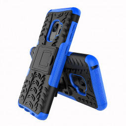 Hybrid Rugged Armor Stand Case Dual Layer Shockproof Back Cover for Samsung Galaxy S9 - Blue