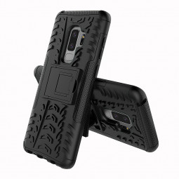 Dual Layer Shockproof Hybrid Rugged Armor Kickstand Case Back Cover for Samsung Galaxy S9 Plus - Black