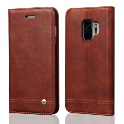 Slim Vintage Rivet PU Leather Case Magnetic Flip Stand Wallet Cover for Samsung Galaxy S9 - Brown