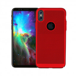 Ultra Slim Thin Mesh PC Hard Back Shockproof Case Cover Shell for iPhone X/XS - Red