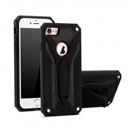 Armor Hybrid Rugged Shockproof Case TPU+PC Protective Stand Back Cover for iPhone 7/8 - Black