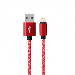 1M 8pin USB Braided Data Charging Cable Cord for iPhone 7/8 - Red