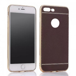 Ultra Thin Plating Soft TPU Silicone Litchi Pattern Back Case for iPhone 7 Plus 8 Plus - Coffee