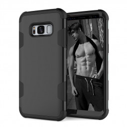 Samsung S8 Fashion Heavy Duty PC+TPU Bumper Shockproof Case Back Cover - Black