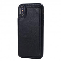 Magnetic PU Leather Wallet Case Shockproof Flip Stand Cover for iPhone X/XS - Black