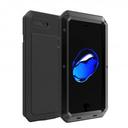 Full Body Shockproof Anti-Skid Metal Armor Case Cover Shell for iPhone 7/8 Plus - Black
