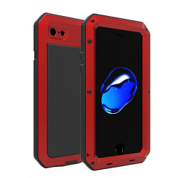 Metal Armor Full Body Shockproof Rubber Anti-skid Protective Case Cover for iPhone 7/8 - Red