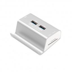 USB 3.0 Card Reader High Speed 3-Port USB-C 3.0 Hubs Combo Phone Holder