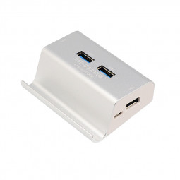USB 3.0 4-Port USB-C 3.0 Hub Super Speed Card Reader + Phone Holder Combo - Silver