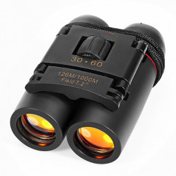 30x60 Outdoor Travel Day Night Vision Folding Binoculars Telescopes - Black