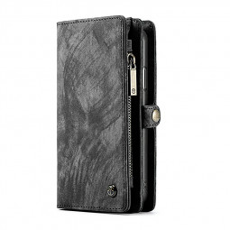 iPhone X/XS Luxury Multifunctional Magnetic Leather Wallet Flip Case Cover - Black