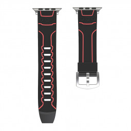 42mm Apple Watch Silicone Sport Watch Band Strap for Apple Watch Series 2/1 - Black + Red
