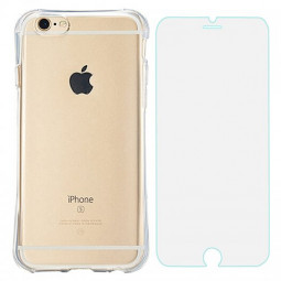 Slim Transparent TPU Case with Shockproof Particles Corner for iPhone 6 6S with Tempered Glass - Transparent