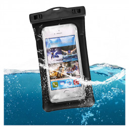 6 Inches Universal Inflatable Floating Waterproof Pouch Phone Dry Bag Case - Black