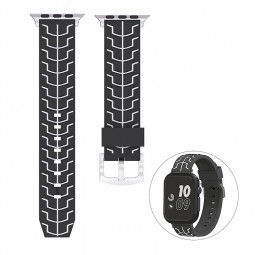 42mm Silicone Replacement Watch Band Adjustable Sports Watch Wrist Strap for Apple Watch - Black+White