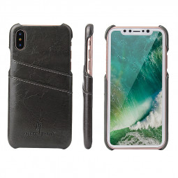 Slim Vintage PU Leather Case Back Cover with Card Slots for iPhone X/XS - Grey
