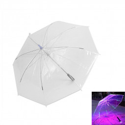 8 Ribs Light Up Changing Colors LED Umbrella with Flashlight - Transparent