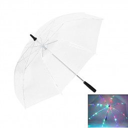 7 Colors Changing LED Luminous Transparent Umbrella with Flashlight Function - Transparent