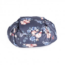 Waterproof Travel Makeup Bag Foldable Portable Drawstring Cosmetic Storage Organizer - Dark Blue Flower