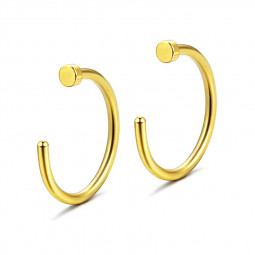 10Pcs/Lot 10mm Surgical Stainless C Clip Open Fake Lip Nose Ring Hoop - Golden