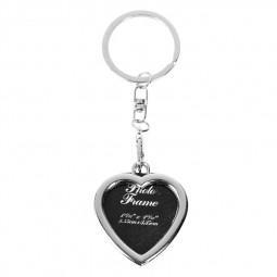 Mini Metal Alloy Keychain Insert Photo Picture Frame Keyring Key Chain Gift - Heart Shape