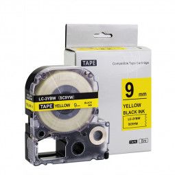 Label Tapes Compatible for Kingjim Epson Printer 9MM - Black on Yellow