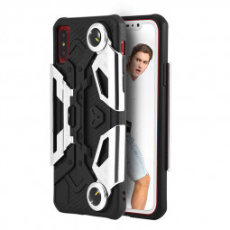 TPU+PC Shockproof Armor Case Gaming Handle Stand Back Cover for iPhone X/XS - Silver