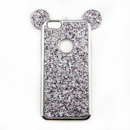 Mickey Ear Bling Phone Cover Shell Soft TPU Protective Case for iPhone 7/8 - Silver