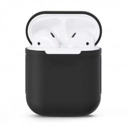 Portable Wireless Bluetooth Earphone Silicone Protective Box for Apple Headphones - Black