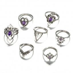 7PCS Bohemian Vintage Women's Rainstone Finger Rings Punk Jewelry Ring Set