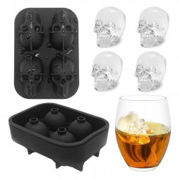 Cool 3D Skull Ice Cube Mold Food Grade Flexible Silicone Tray Maker for Pubs