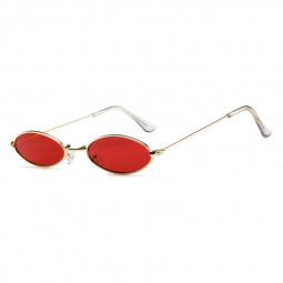 Unisex Retro Vintage Small Oval Sunglasses Metal Frame Shades Eyewear - Gold + Red