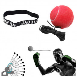 Fight Boxing Ball Equipment with Headband for Reflex Speed Training - Red