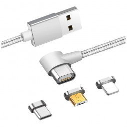 1m 3in1 Right Angle Magnetic Knit Braid Micro USB/8pin/Type-C Data Cable - Silver