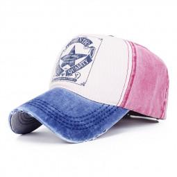 Men Women Vintage Star Baseball Cap Adjustable Outdoor Sports Hats - Navy Blue+Wine Red