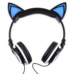 Cat Ear LED Headset Foldable Over-Ear Headphone Earphone with LED Lights for Kids Girls - Black