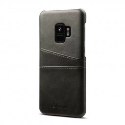 Samsung S9 Slim Thin Vintage PU Leather Wallet Case Back Cover with Card Holders - Black