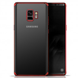 Plating Clear Slim Soft TPU Shockproof Case Cover for Samsung S9 - Red