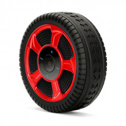 Wheel Tire Wireless Bluetooth Speaker Stereo Bass Portable Music Player with Mic - Red