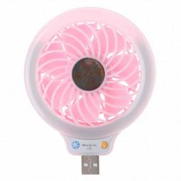 Mini USB Fan Portable LED Light Quiet Operation Desktop Table Cooler - Pink