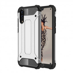 Huawei P20 Rugged Armor Shockproof Case Hybrid TPU+PC Dual Layer Protection Back Cover Shell - Silver